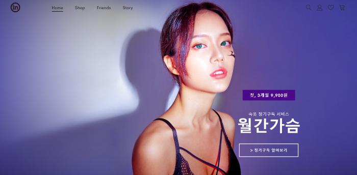 인더웨어의 속옷 정기 구독 서비스 '월간 가슴' (사진=공식 홈페이지 캡쳐)